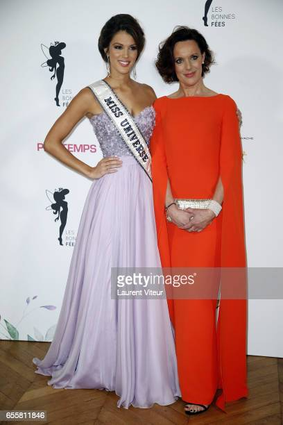 Miss Univers 2017 Iris Mittenaere and her Mother Laurence Druart attend 'Les Bonnes Fees' Charity Gala at Hotel D'Evreux on March 20 2017 in Paris...