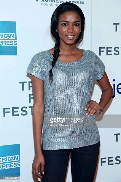 Miss Universe 2011 Leila Lopes attends 'Mansome' Premiere during the 2012 Tribeca Film Festival at the Borough of Manhattan Community College on...