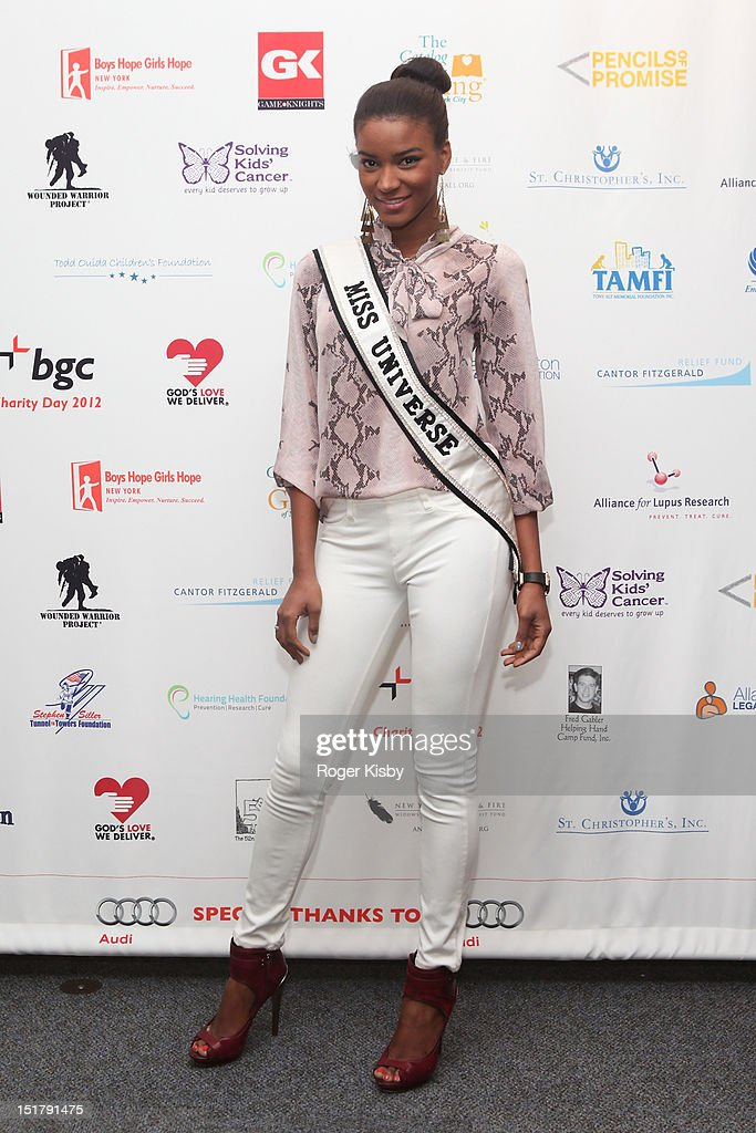 Miss Universe 2011 Leila Lopes attends the Annual Charity Day hosted by Cantor Fitzgerald and BGC Partners on September 11 2012 in New York United...