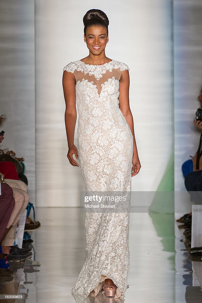 Miss Universe 2011 Leila Lopes walks the runway during the Evening Sherri Hill Spring 2013 Mercedes-Benz Fashion Week Show at Trump Tower on September 7, 2012 in New York City.