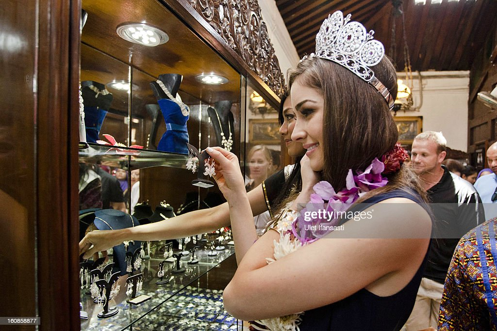 Miss Universe 2012, Olivia Culpo, and newly-crowned Puteri Indonesia 2013, Whulandary, visit Ansor Silver store on February 7, 2013 in Yogyakarta, Indonesia. Olivia Culpo, a beauty pageant contestant from the United States, was crowned Miss Universe in 2012.