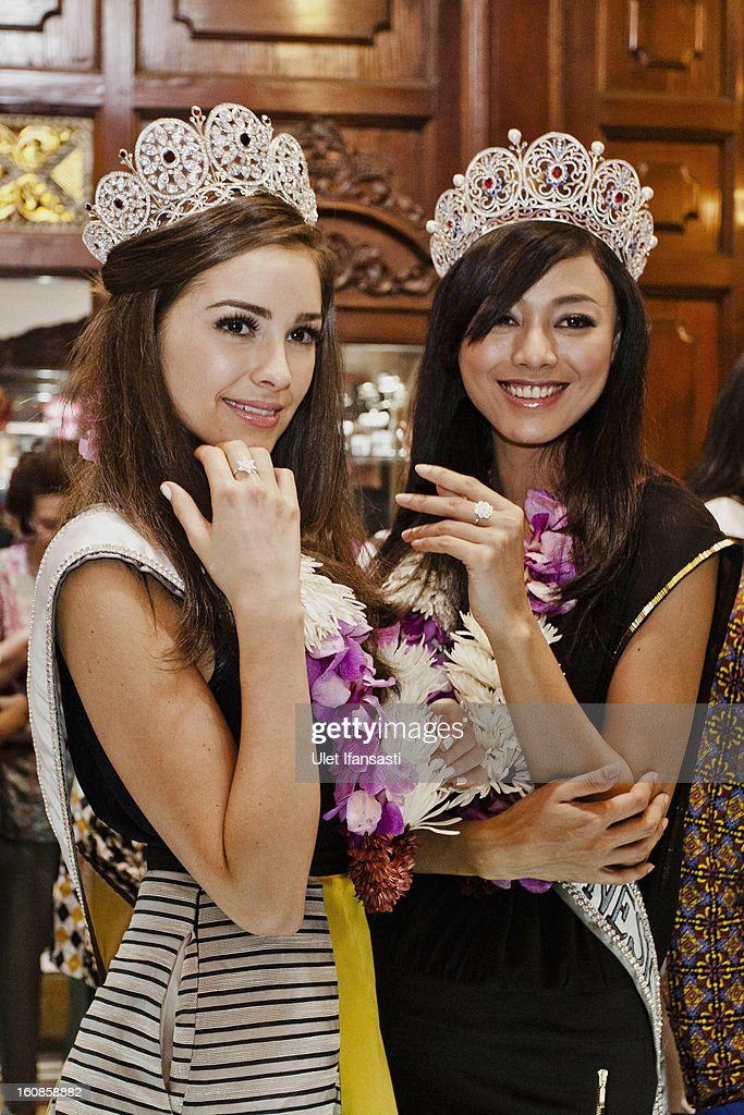 Miss Universe 2012, Olivia Culpo, and newly-crowned Puteri Indonesia 2013, Whulandary (R), visit Ansor Silver store on February 7, 2013 in Yogyakarta, Indonesia. Olivia Culpo, a beauty pageant contestant from the United States, was crowned Miss Universe in 2012.