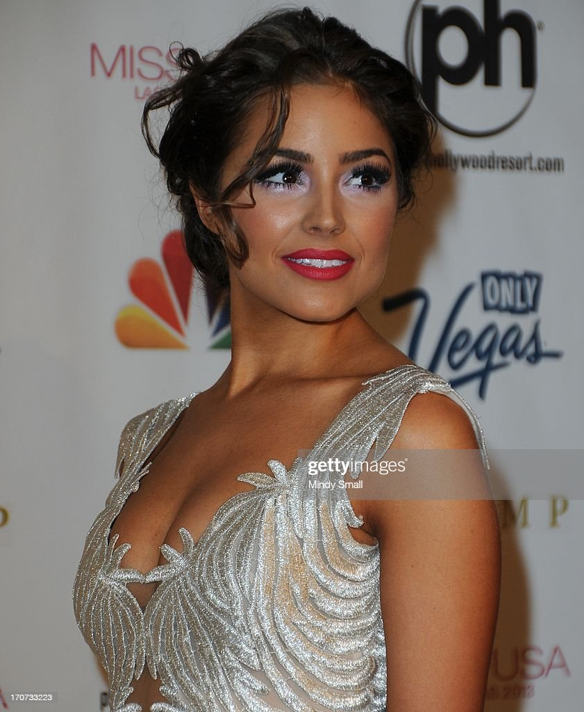 Miss Universe 2012 <a gi-track='captionPersonalityLinkClicked' href=/galleries/search?phrase=Olivia+Culpo&family=editorial&specificpeople=9194131 ng-click='$event.stopPropagation()'>Olivia Culpo</a> arrives at the 2013 Miss USA pageant at Planet Hollywood Resort & Casino on June 16, 2013 in Las Vegas, Nevada.