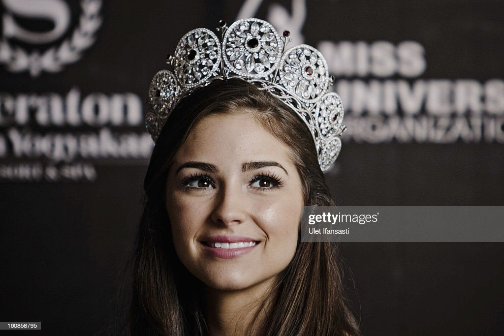 Miss Universe 2012, Olivia Culpo, attends a press conference at the Sheraton hotel on February 7, 2013 in Yogyakarta, Indonesia. Olivia Culpo, a beauty pageant contestant from the United States, was crowned Miss Universe in 2012.