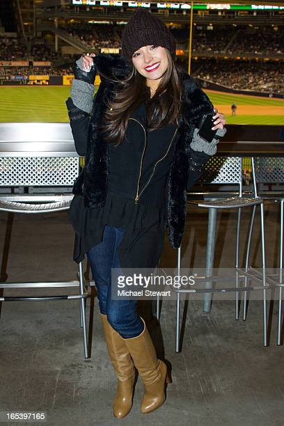 Miss Universe 2012 Olivia Culpo attends the Boston Red Sox vs New York Yankees game at Yankee Stadium on April 3 2013 in New York City