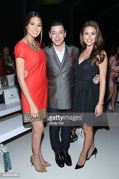 Miss Universe 2013 Gabriela Isler designer Malan Breton and Miss USA 2014 Nia Sanchez attend the Oudifu fashion show during MercedesBenz Fashion Week...
