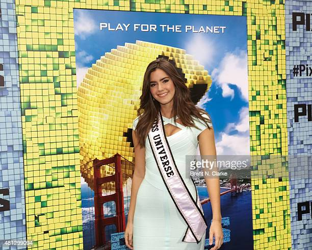 Miss Universe 2014 Paulina Vega arrives at the 'Pixels' New York premiere held at the Regal EWalk on July 18 2015 in New York City