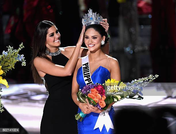 Miss Universe 2014 Paulina Vega crowns Miss Philippines 2015 Pia Alonzo Wurtzbach the 2015 Miss Universe during the 2015 Miss Universe Pageant at The...