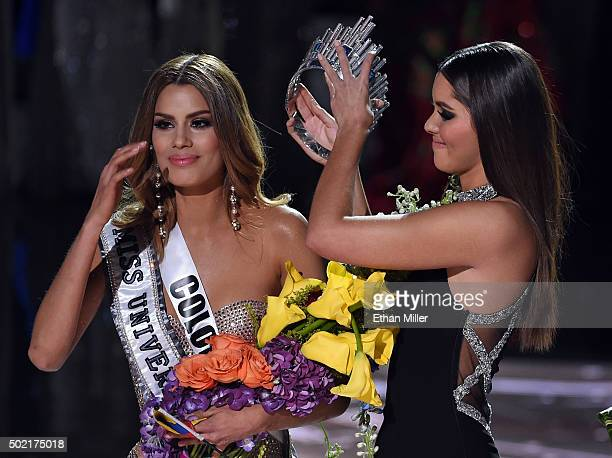 Miss Universe 2014 Paulina Vega removes the crown from Miss Colombia 2015 Ariadna Gutierrez Arevalo after it was announced that host Steve Harvey...