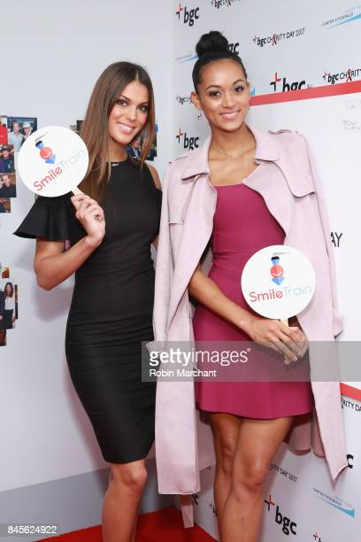 Miss Universe 2016 Iris Mittenaere and Miss USA 2017 Kara McCullough attend Annual Charity Day hosted by Cantor Fitzgerald BGC and GFI at BGC...