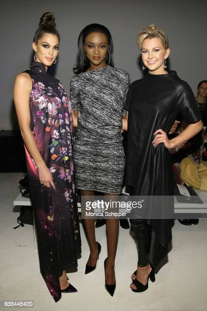 Miss Universe 2016 Iris Mittenaere Miss USA 2016 Deshauna Barber and Miss Teen USA 2016 Karlie Hay attend Fashion Hong Kong Fall/Winter 2017 during...
