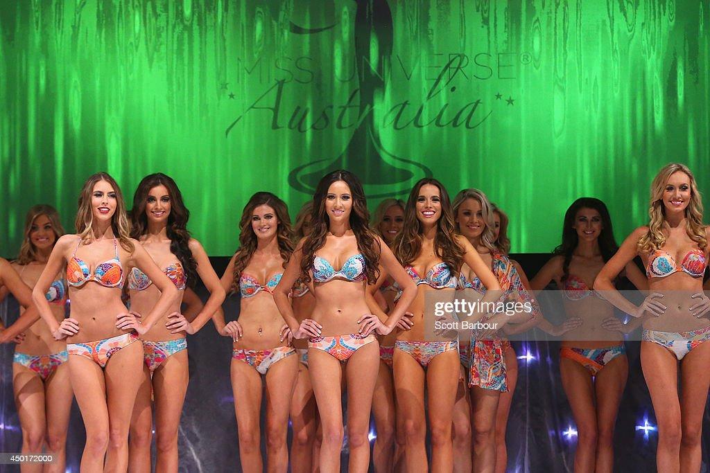 Miss Universe Australia contestants pose onstage during Miss Universe Australia 2014 on June 6, 2014 in Melbourne, Australia.