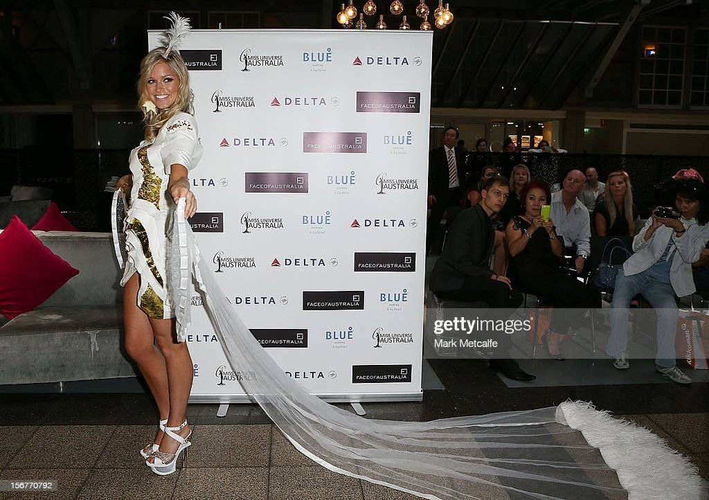Miss Universe Australia, Renee Ayris, poses at the unveiling of the Australia National Costume on November 21, 2012 in Sydney, Australia.