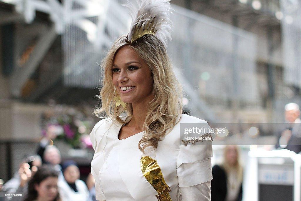 Miss Universe Australia, Renee Ayris, walks the catwalk at the unveiling of the Australia National Costume on November 21, 2012 in Sydney, Australia.