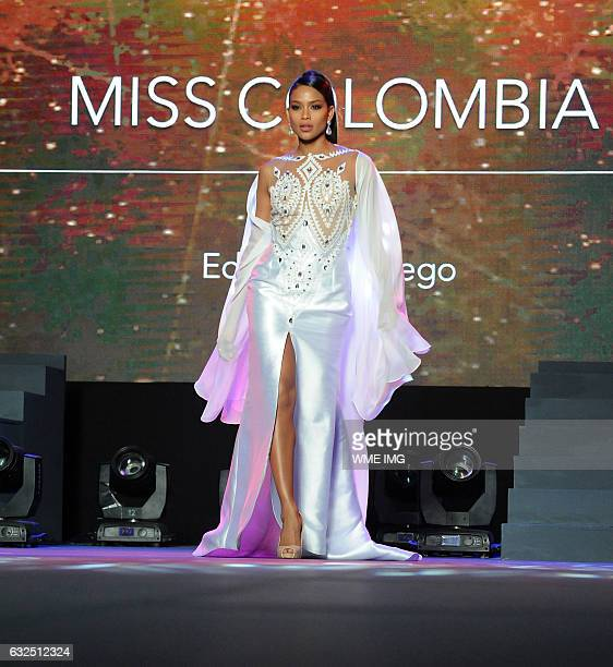 Miss Universe Colombia Andrea Tovar on the runway during the National Gift Auction fashion show at the Conrad Hotel in Manila Philippines on January...
