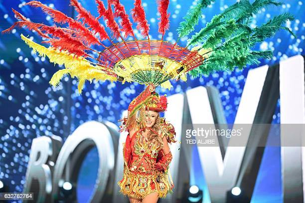 Miss Universe contestant Antonella Moscatelli of Bolivia presents during the national costume and preliminary competition of the Miss Universe...