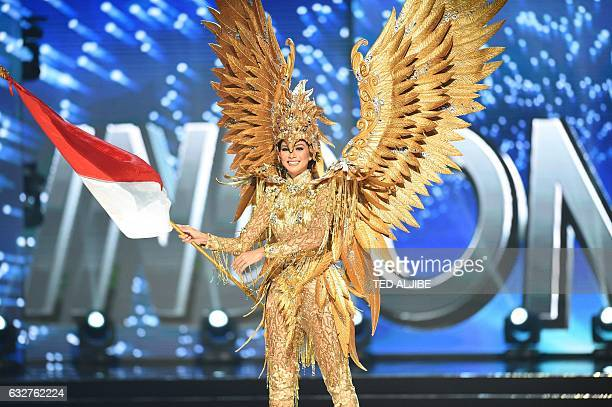 Miss Universe contestant Kezia Warouw of Indonesia presents during the national costume and preliminary competition of the Miss Universe pageant at...