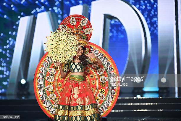 Miss Universe contestant Roshmita Harimurthy of India presents during the national costume and preliminary competition of the Miss Universe pageant...