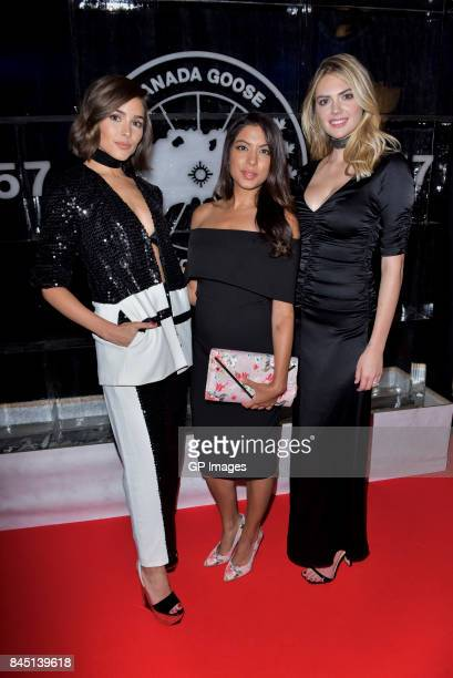 Miss Universe Olivia Culpo NBC host Aliya Jasmine Sovani and super model Kate Upton attend the 'Canada Goose's 60th Anniversary' at Four Seasons...