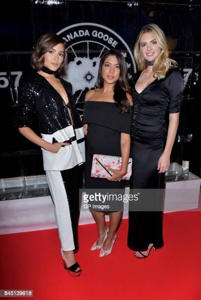 Miss Universe Olivia Culpo NBC host Aliya Jasmine Sovani and super model Kate Upton attend the 'Canada Goose's 60th Anniversary' at Four Seasons...