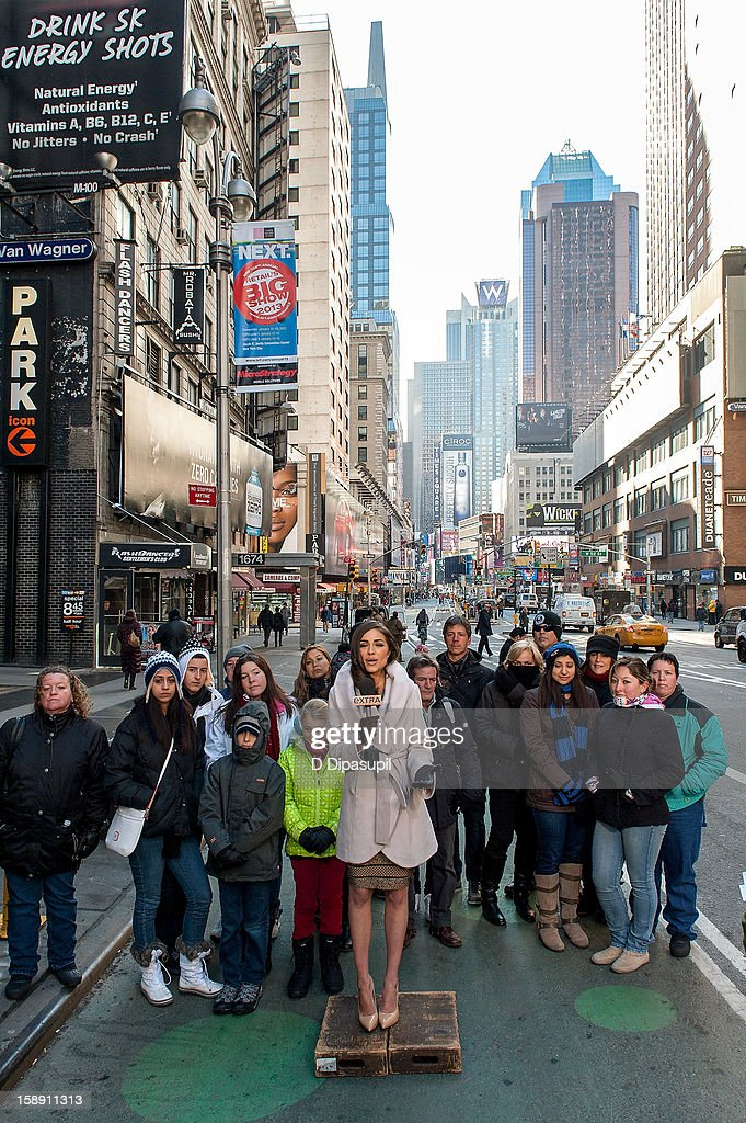 Miss Universe <a gi-track='captionPersonalityLinkClicked' href=/galleries/search?phrase=Olivia+Culpo&family=editorial&specificpeople=9194131 ng-click='$event.stopPropagation()'>Olivia Culpo</a> visits 'Extra' in Times Square on January 3, 2013 in New York City.