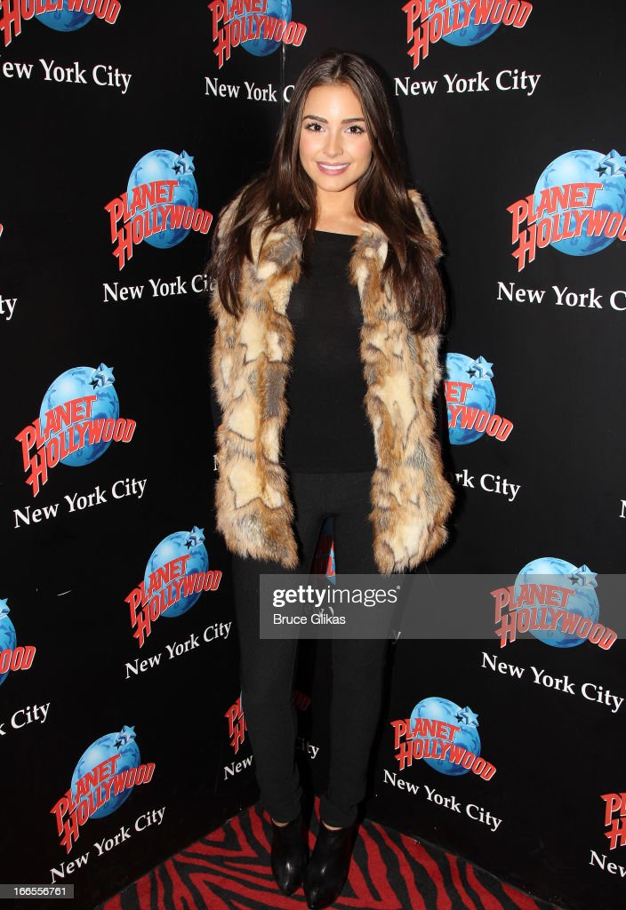 Miss Universe <a gi-track='captionPersonalityLinkClicked' href=/galleries/search?phrase=Olivia+Culpo&family=editorial&specificpeople=9194131 ng-click='$event.stopPropagation()'>Olivia Culpo</a> visits Planet Hollywood Times Square on April 13, 2013 in New York City.