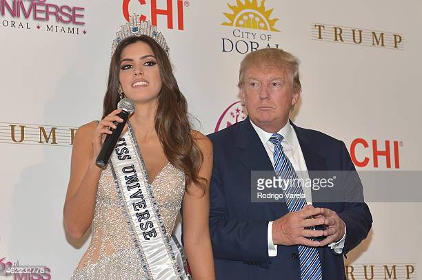 Miss Universe Paulina Vega and Donald Trump attend The 63rd Annual Miss Universe Pageant winner press conference at Trump National Doral on January...