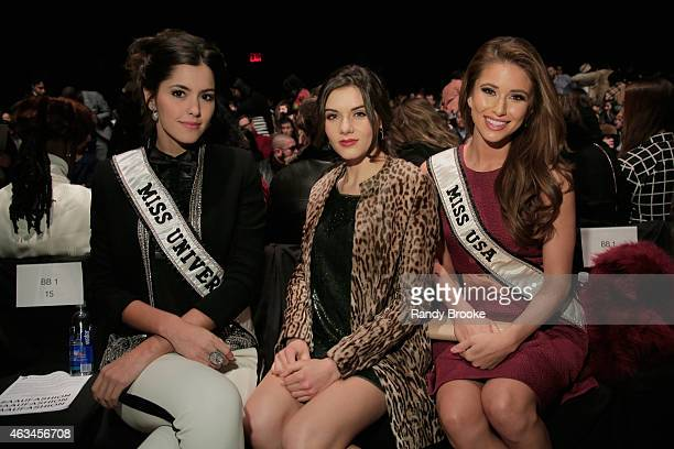 Miss Universe Paulina Vega Miss Teen USA K Lee Graham and Miss USA Nia Sanchez attend the Academy of Art University fashion show during MercedesBenz...