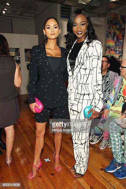Miss Universe Pia Alonzo Wurtzbach and Miss USA Deshauna Barber attend the Patricia Field Art/Fashion Gallery during New York Fashion Week September...