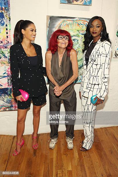 Miss Universe Pia Alonzo Wurtzbach fashion designer Patricia Fields and Miss USA Deshauna Barber attend the Patricia Field Art/Fashion Gallery during...