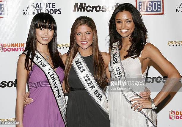 Miss Universe Riyo Mori Miss Teen USA Hilary Cruz and Miss USA Rachel Smith attend 'A Salute To Our troops' ceremony hosted by Microsoft Corporation...