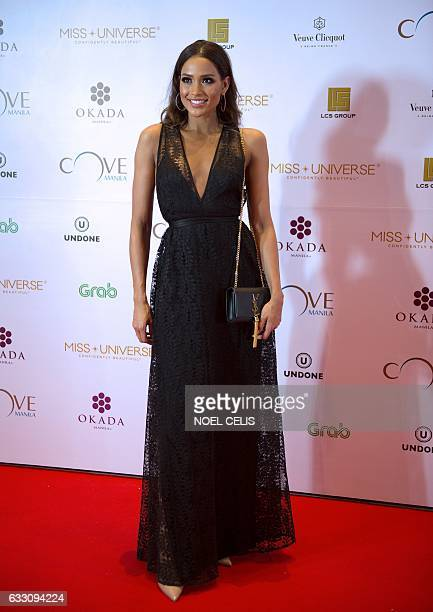 Miss Universe third runner up Colombia's Andrea Tovar poses as she arrives at the Miss Universe afterparty red carpet event at a hotel in Manila on...