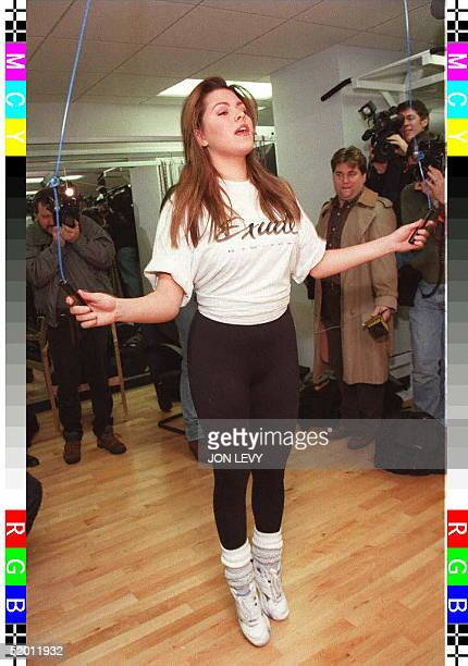 Miss Universe Venezuela's Alicia Machado jumps rope during her daily workout routine 28 January in New York The 19 yearold Machado has started a new...