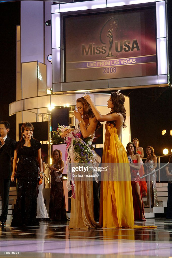 Miss USA 2008/Miss Texas Crystle Stewart is crowned by Miss USA 2007 Rachel Smith at the 2008 Miss USA Competition at Planet Hollywood Resort Casino...