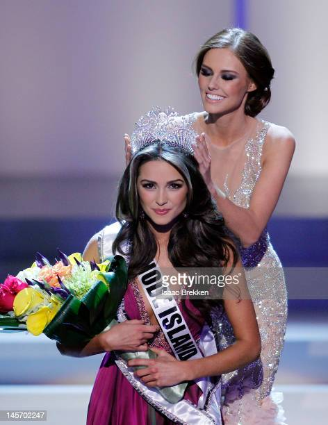 Miss USA 2011 Alyssa Campanella crowns Miss Rhode Island USA Olivia Culpo the 2012 Miss USA during the 2012 Miss USA pageant at the Planet Hollywood...