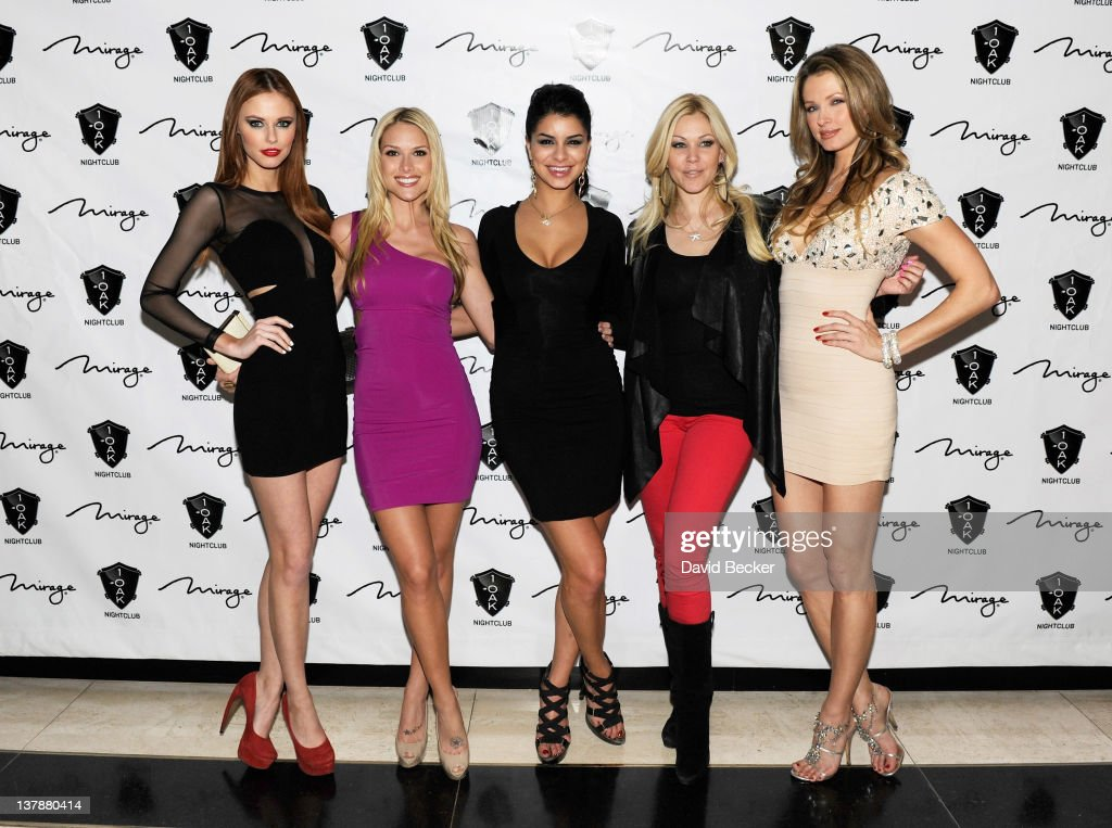 Miss USA 2011 Alyssa Campanella, Miss USA 2006 Tara Conner, Miss USA 2010 Rima Fakih, Miss USA 1995 Shanna Moakler and Miss USA 2004 Shandi Finnessey arrive at the grand opening celebration at 1 Oak Las Vegas at The Mirage Hotel & Casino on January 28, 2012 in Las Vegas, Nevada.