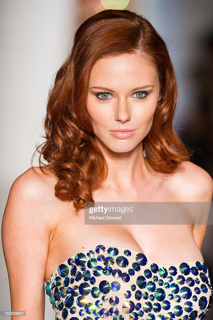Miss USA 2011 Alyssa Campanella walks the runway during the Evening Sherri Hill Spring 2013 Mercedes-Benz Fashion Week Show at Trump Tower on September 7, 2012 in New York City.