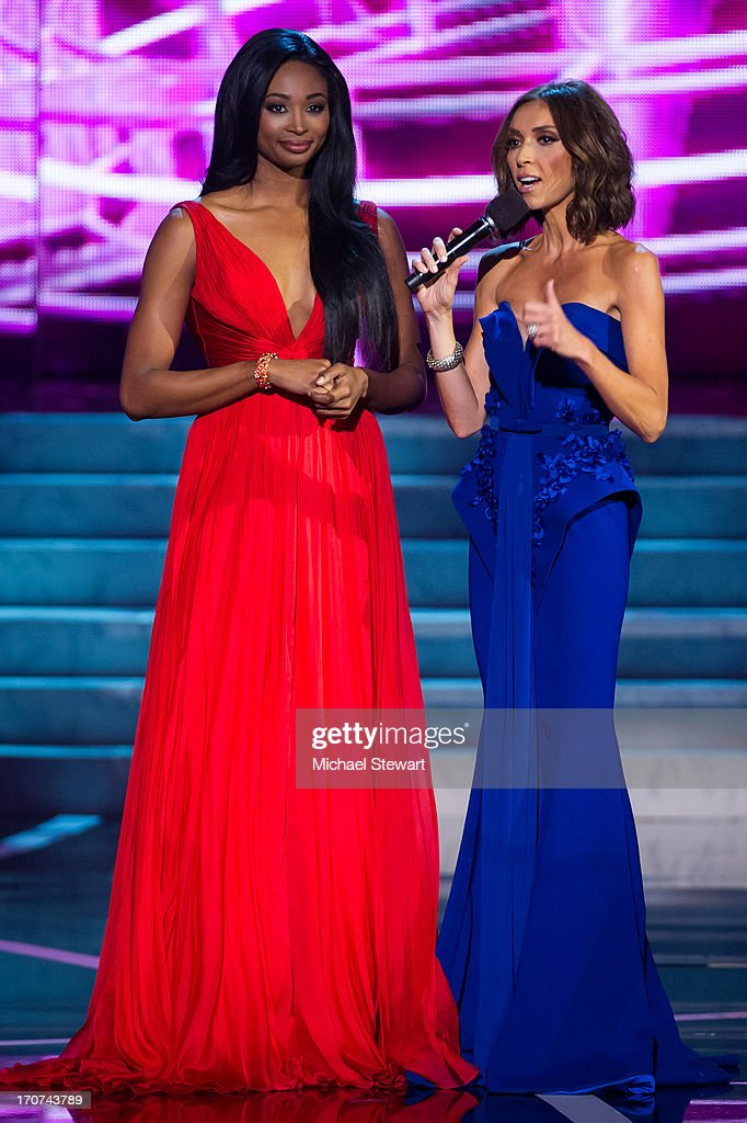 Miss USA 2012 <a gi-track='captionPersonalityLinkClicked' href=/galleries/search?phrase=Nana+Meriwether&family=editorial&specificpeople=4594046 ng-click='$event.stopPropagation()'>Nana Meriwether</a> (L) and co-host <a gi-track='captionPersonalityLinkClicked' href=/galleries/search?phrase=Giuliana+Rancic&family=editorial&specificpeople=556124 ng-click='$event.stopPropagation()'>Giuliana Rancic</a> appear during the 2013 Miss USA pageant at PH Live at Planet Hollywood Resort & Casino on June 16, 2013 in Las Vegas, Nevada.