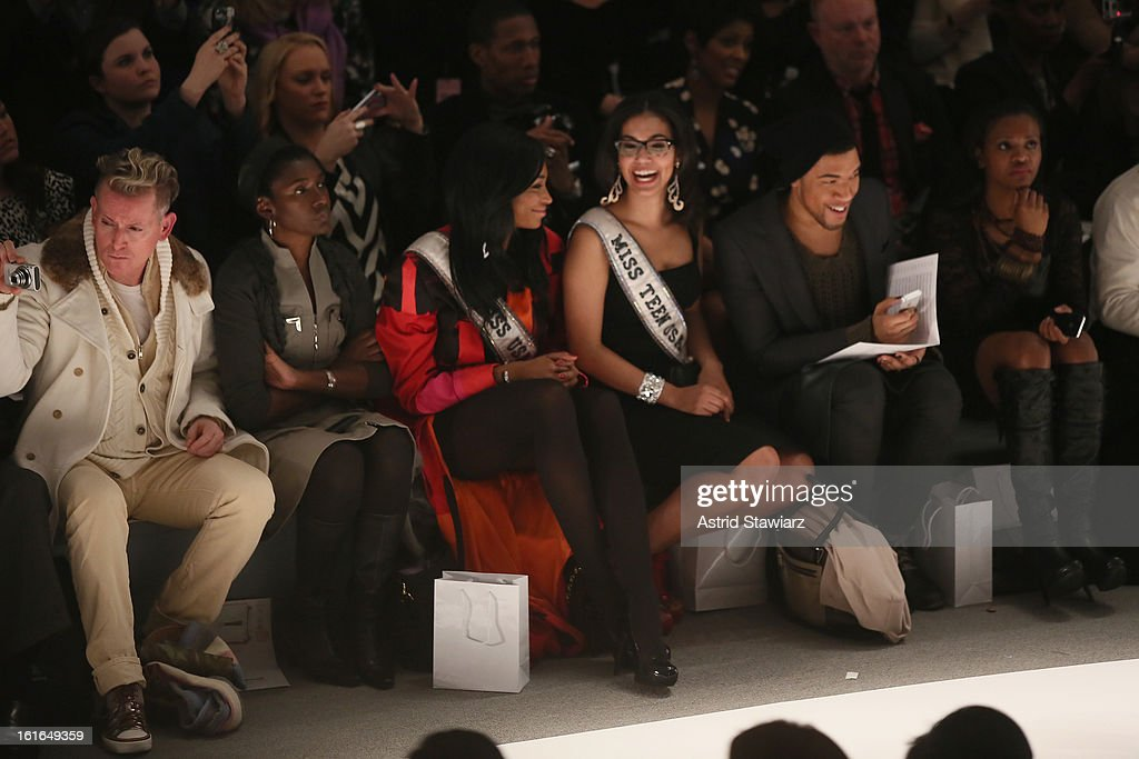 Miss USA 2012 Nana Meriwether (3rd L) and Miss Teen USA Logan West (3rd R) attend the Zang Toi Fall 2013 fashion show during Mercedes-Benz Fashion Week at The Stage at Lincoln Center on February 13, 2013 in New York City.