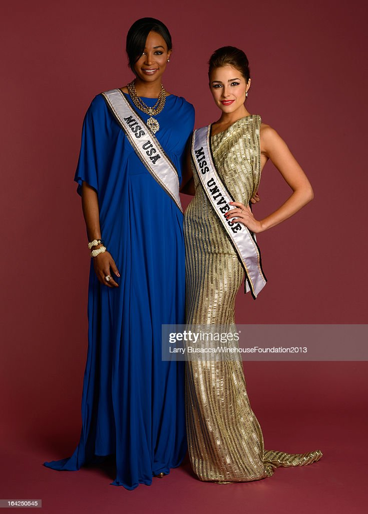 Miss USA 2012 Nana Meriwether (L) and Miss Universe 2012 <a gi-track='captionPersonalityLinkClicked' href=/galleries/search?phrase=Olivia+Culpo&family=editorial&specificpeople=9194131 ng-click='$event.stopPropagation()'>Olivia Culpo</a> pose for a portrait during the 2013 Amy Winehouse Foundation Inspiration Awards and Gala at The Waldorf=Astoria on March 21, 2013 in New York City.