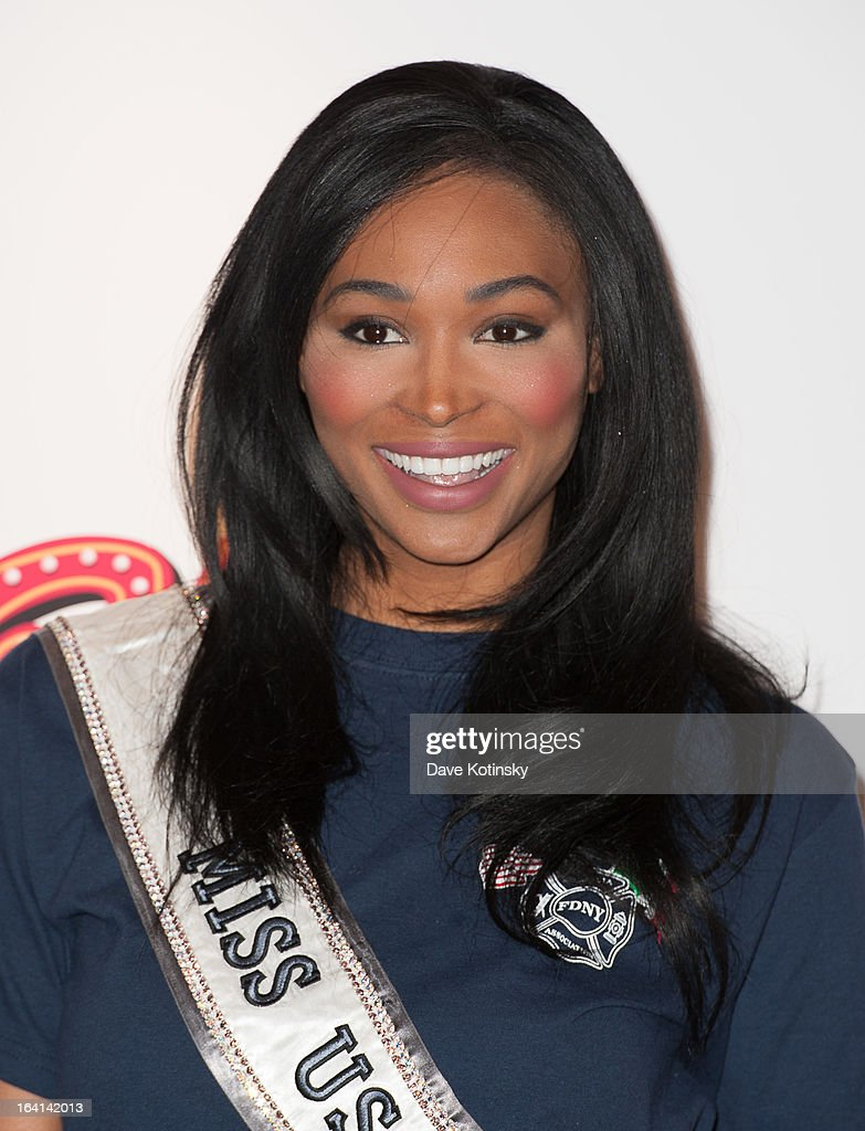 Miss USA 2012, Nana Meriwether attends the 2013 National Ravioli Day Pasta Eating Contest at Buca di Beppo on March 20, 2013 in New York City.
