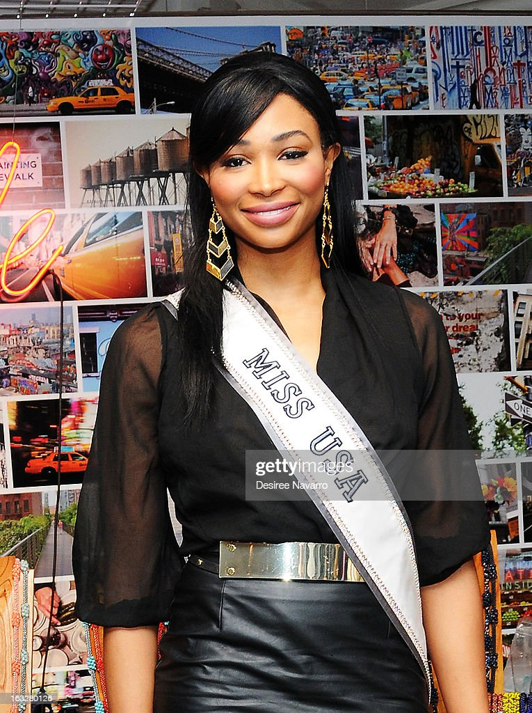 Miss USA 2012, <a gi-track='captionPersonalityLinkClicked' href=/galleries/search?phrase=Nana+Meriwether&family=editorial&specificpeople=4594046 ng-click='$event.stopPropagation()'>Nana Meriwether</a> attends the DKNY & Same Sky Host An Ethical Shopping Event To Celebrate International Women's Day at DKNY Store on March 6, 2013 in New York City.