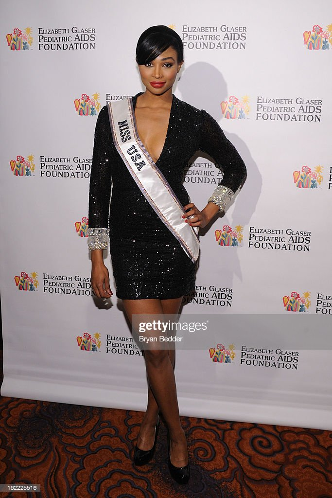 Miss USA 2012 Nana Meriwether attends the Elizabeth Glaser Global Champions of a Mothers Fight Awards Dinner at Mandarin Oriental Hotel on February 20, 2013 in New York City.