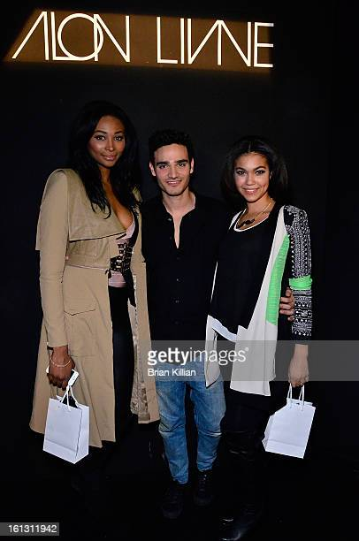 Miss USA 2012 Nana Meriwether designer Alon Livne and Miss Teen USA 2012 Logan West attend the Alon Livne Presentation during Fall 2013 MercedesBenz...