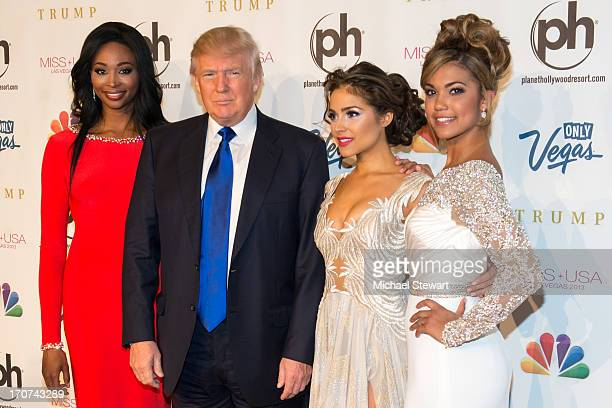 Miss USA 2012 Nana Meriwether Donald Trump Miss Universe 2012 Olivia Culpo and Miss Teen USA 2012 Logan West arrive at the 2013 Miss USA pageant at...