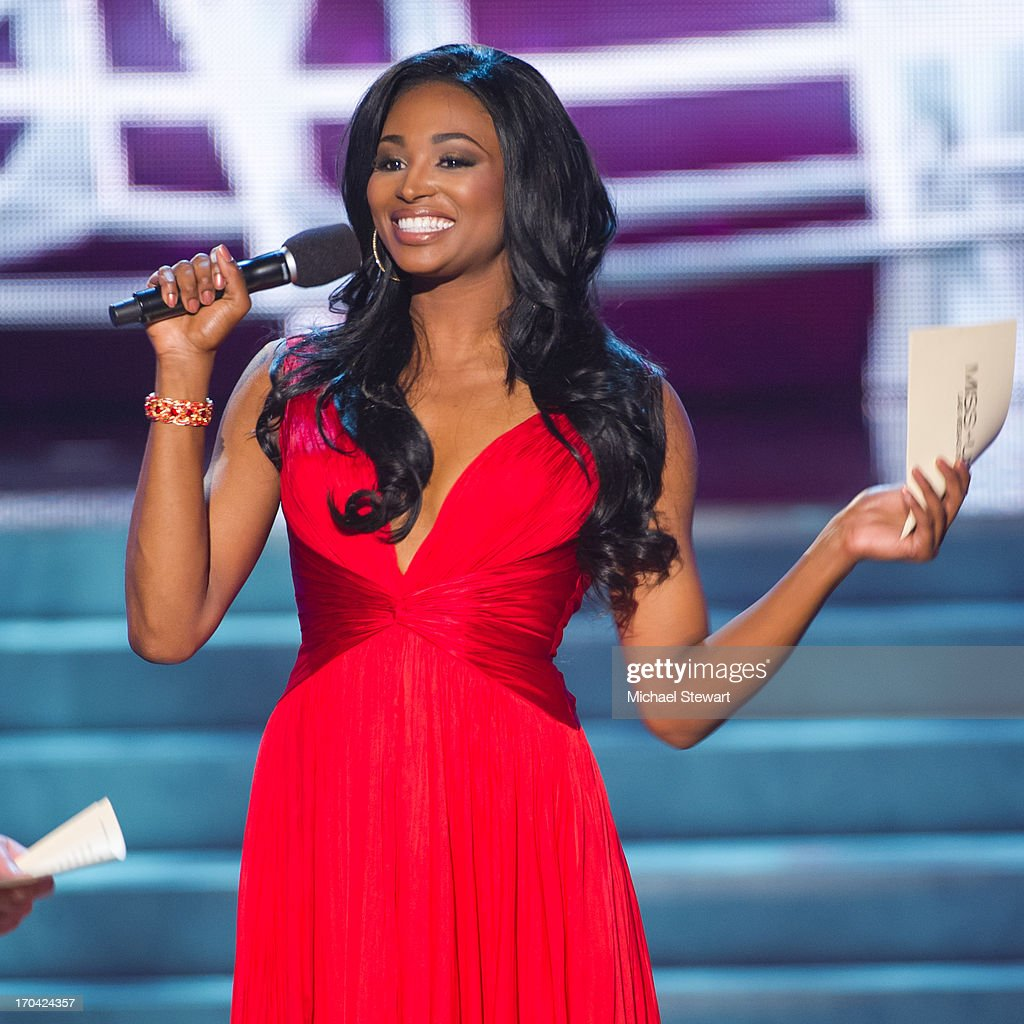 Miss USA 2012 <a gi-track='captionPersonalityLinkClicked' href=/galleries/search?phrase=Nana+Meriwether&family=editorial&specificpeople=4594046 ng-click='$event.stopPropagation()'>Nana Meriwether</a> hosts the 2013 Miss USA pageant preliminary competition at PH Live at Planet Hollywood Resort & Casino on June 12, 2013 in Las Vegas, Nevada.
