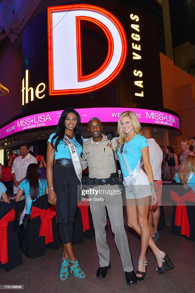 Miss USA 2012 Nana Meriwether Las Vegas Metropolitan Police Sergeant and television personality Tom Jenkins and Miss Nevada USA Chelsea Caswell...