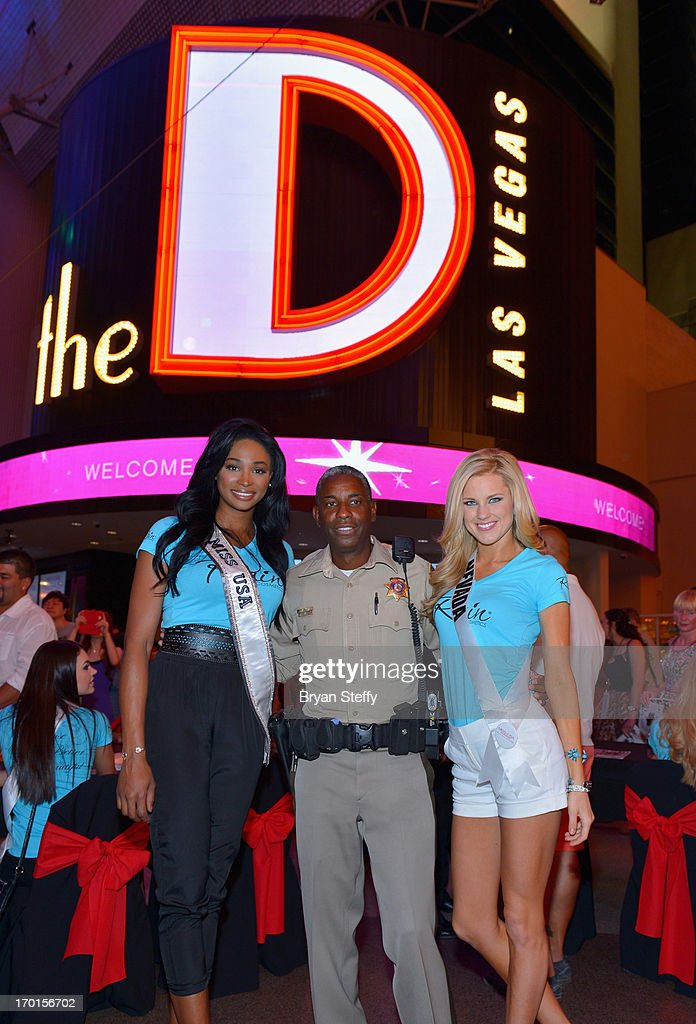 Miss USA 2012 Nana Meriwether Las Vegas Metropolitan Police Sgt and television personality Tom Jenkins and Miss Nevada USA Chelsea Caswell appear at...