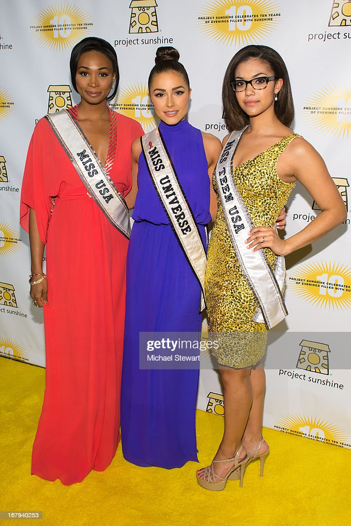 Miss USA 2012 <a gi-track='captionPersonalityLinkClicked' href=/galleries/search?phrase=Nana+Meriwether&family=editorial&specificpeople=4594046 ng-click='$event.stopPropagation()'>Nana Meriwether</a>, Miss Universe 2012 <a gi-track='captionPersonalityLinkClicked' href=/galleries/search?phrase=Olivia+Culpo&family=editorial&specificpeople=9194131 ng-click='$event.stopPropagation()'>Olivia Culpo</a> and Miss Teen USA 2012 Logan West attend the 10th Annual Project Sunshine Benefit at Cipriani 42nd Street on May 2, 2013 in New York City.