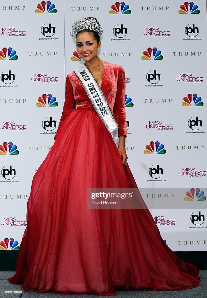Miss USA 2012, Olivia Culpo, poses at a news conference after she was named the new Miss Universe during the 2012 Miss Universe Pageant at PH Live at Planet Hollywood Resort & Casino on December 19, 2012 in Las Vegas, Nevada.